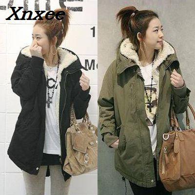 Women parkas fall winter coats with hooded thicken cotton warm outerwear female jacket long windbreaker lamb cashmere slim coat
