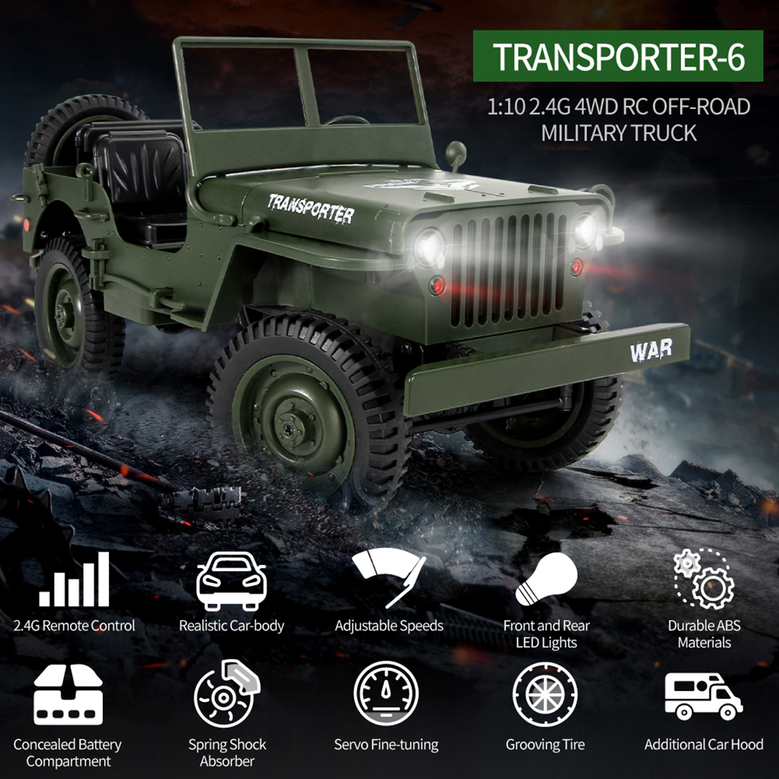 Rowsfire 1 10 2 4g 4wd Rc Trucks Remote Control Toys Off road Vehicle Military Climbing