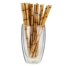 Разложению бамбуковые Соломка для напитков вечерние поставить Бумага питьевые соломки, Eco Содружественное нетоксические Тропический бамбук печати