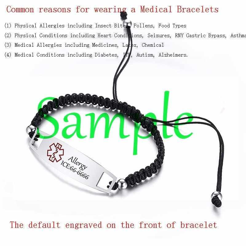 Пользовательские дети завязки браслета веревка цепи медицинский Personazlied ID браслет аллергия для женщин прямая поставка ювелирных изделий