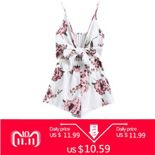 8f4f61e53f0 Kenancy Sexy Women Playsuits Rompers Bohemian Floral Print Plunge Spaghetti  Strap Rompers Jumpsuits Summer Women Beach Playsuits