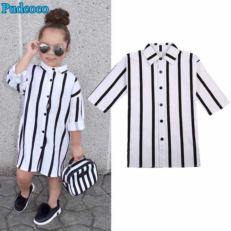 Pudcoco 2019 Brand New Fashion Girl Striped Toddler Kid Dress Long Sleeve Buttons Shirt Dresses Clothes