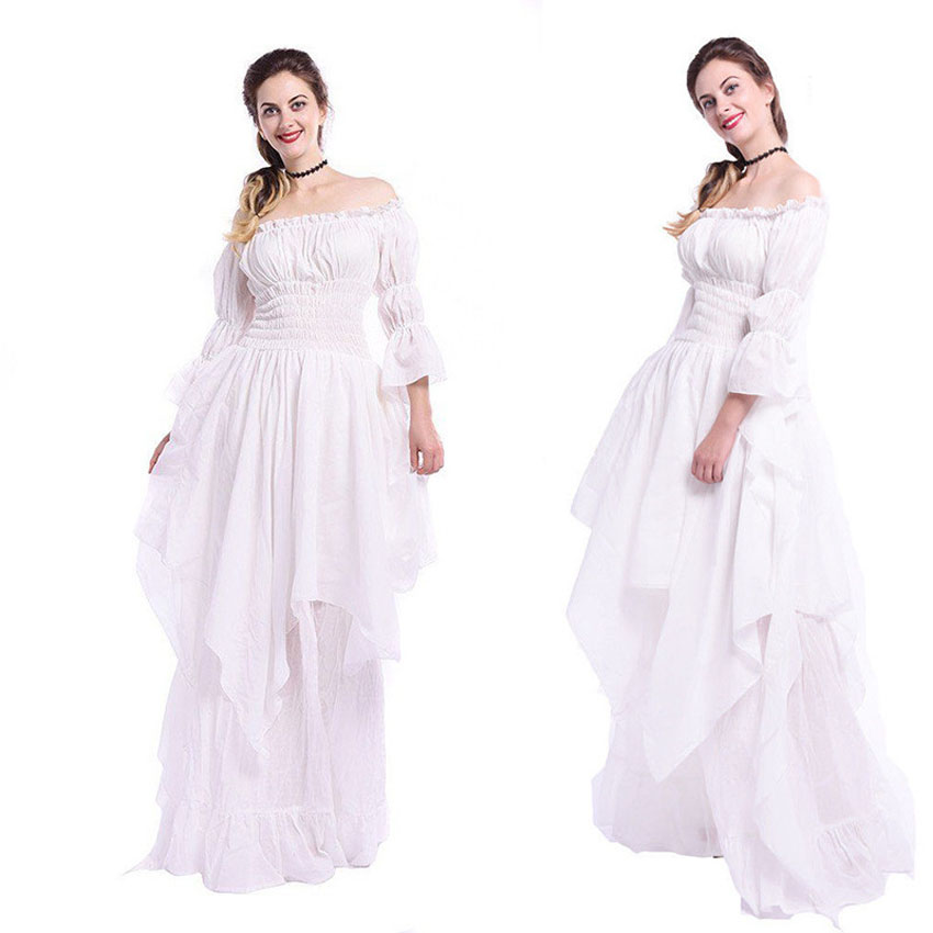 Halloween Women Medieval Costume Female Classical Vintage Uniform Solid Flare Sleeve Victorian Palace Princess Retro Dress