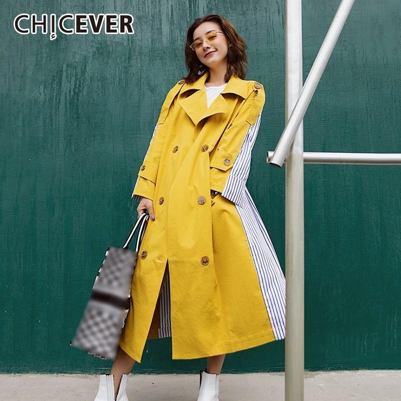 CHICEVER Patchwork Striped Women's Windbreaker Lapel Long Sleeve Double Breasted High Waist Bandage   Trench   Female Coat Fashion