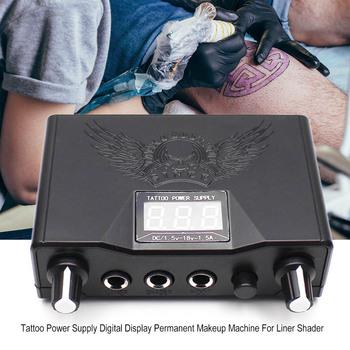 Czarny tatuaż zasilanie podwójny wyświetlacz cyfrowy permanentny makijaż profesjonalny tatuaż zasilacze maszyna dla Shader Liner tanie i dobre opinie Tattoo Power Supply