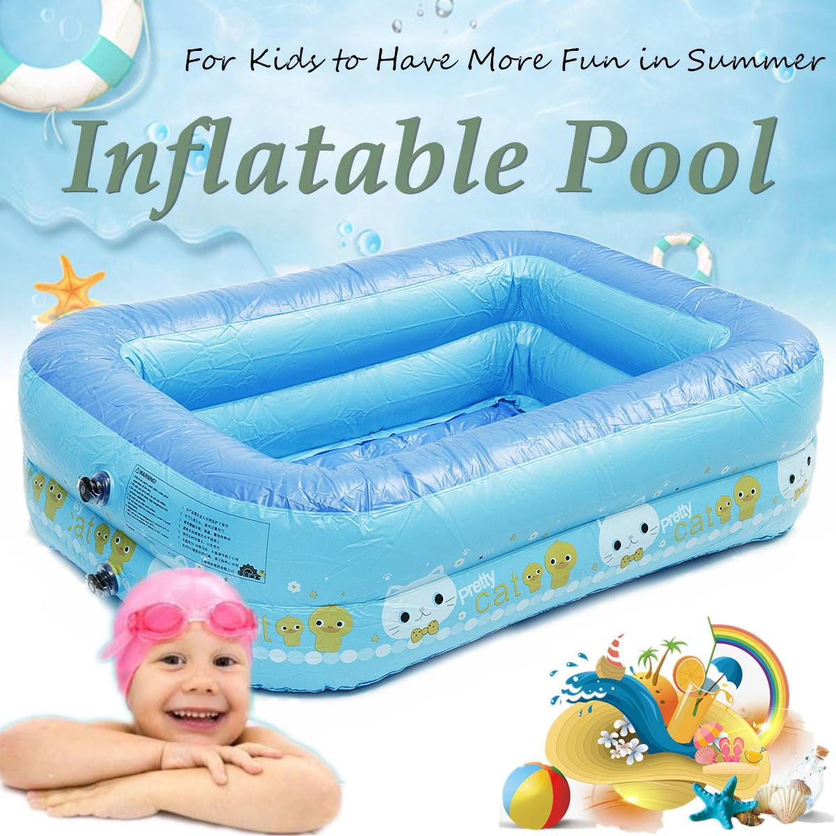 2 Layered Kids Inflatable Swimming Pool Eco-friendly PVC Toughness Convenient Portable Pool Blue Heathy Odorless For Baby Fun