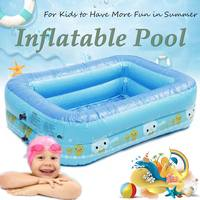 2 Layered Kids Inflatable Swimming Pool Eco friendly PVC Toughness Convenient Portable Pool Blue Heathy Odorless for Baby Fun