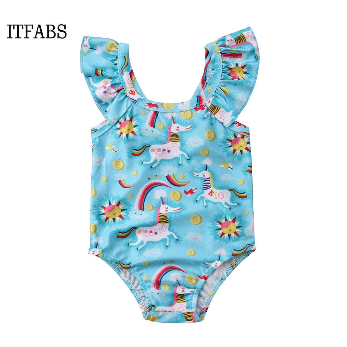 ec0788bfd8d Baby Girls Swimwear Cartoon Rainbow Pony Pattern 2 6T Children One ...