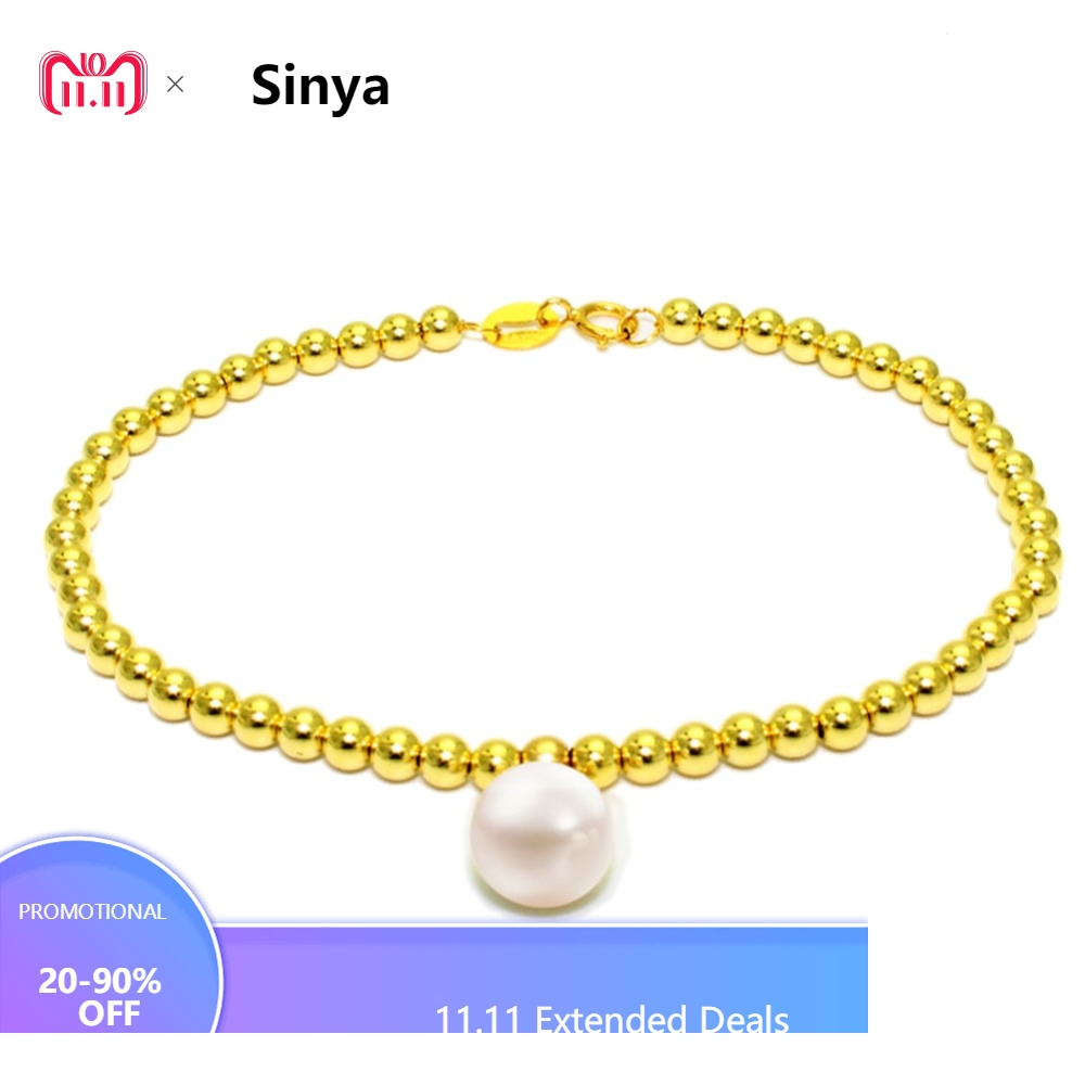 Sinya 3mm18k gold beads strand bracelet for women girls Mum lover length 16+2cm can adjustable Round pearl diameter 8.5mm universal bicycle mount for flashlights and gadgets 2cm 3cm diameter adjustable