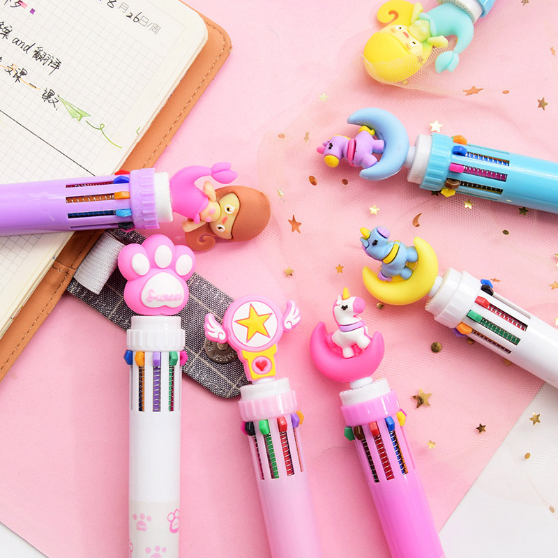 Multi Function 6 In 1 Colorful Ball Pen Kawaii Unicorn Multicolor Ballpoint Pen Pink Star Office School Cute Stationery Supplies