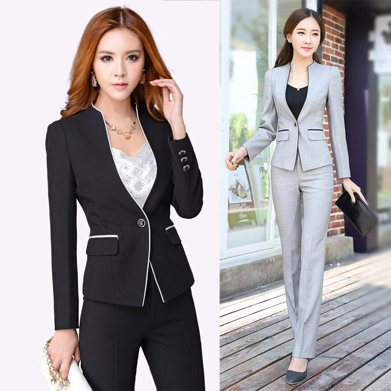 2019 Fashion Slim Work Women Trouser Jacket OL Fashion Formal Blazer Pant Plus Size Office Business Suit Pants Women's Clothing