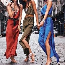Women Silk Dresses Sleeveless Satin Sexy V-Neck Summer Maxi Dress Lady Backless Spaghetti Strap Long Straight Loose Solid