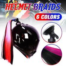 1Pc/2Pc 30cm Motorcycle Bike Gradient Helmet Sucker Removable Braid Pigtail Pony