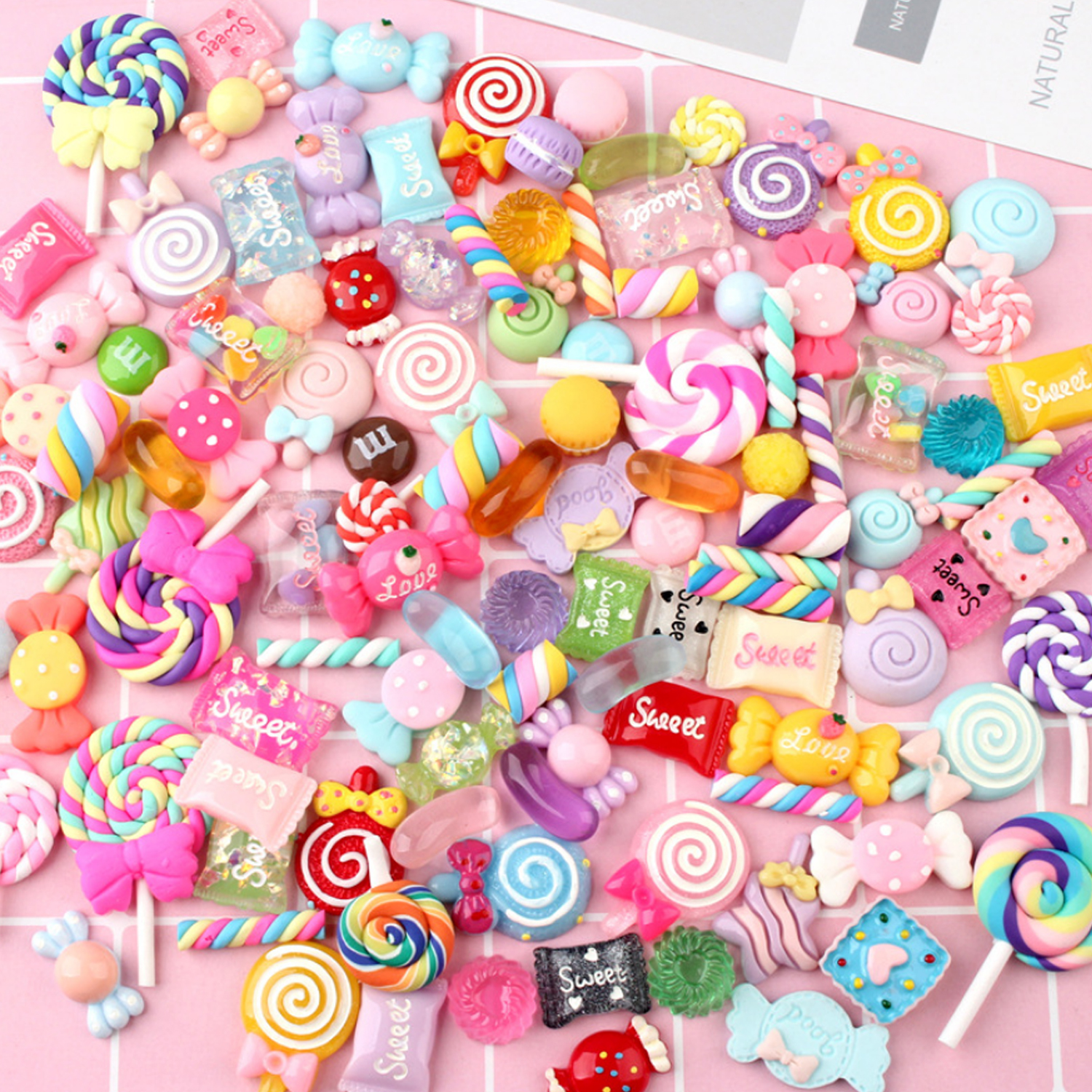 Kids 100PCS Cute Lovely Colorful DIY Resin Candy Slime Dessert Sweets Sugar Kitchen Food Pretend Toy Scrapbooking Handcrafts Toy