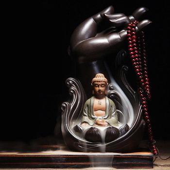 Ganesha Backflow Incense Burner Ceramic Smoke Waterfall Holder Aromatherapy Buddha Censer Buddhist Decoration