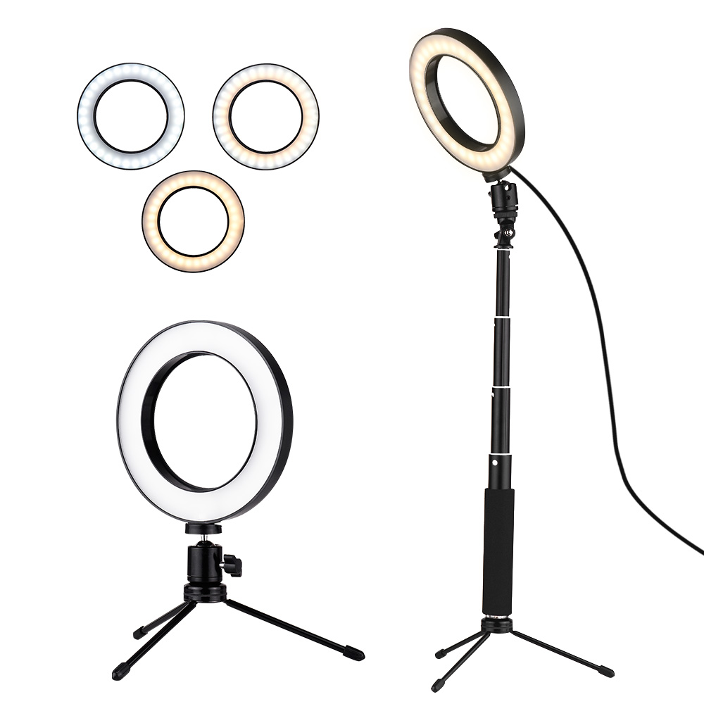 Selfie Lamp 3Modes USB Mini LED Video Ring Light Fall Light  With Telescopic Light Stand Tripod For Network Selfie Facial Makeup(China)