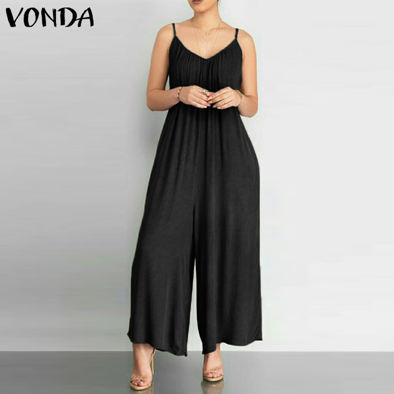Plus Size Rompers Womens Jumpsuits VONDA Sexy V Neck Sleeveless Wide Leg Pants Casual Loose Long Playsuits Female Overalls