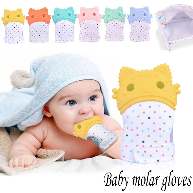 Baby Silicone Mitts Teething Mitten Teething Glove Candy Wrapper Chew Dummy Toy