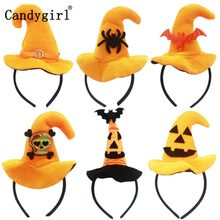 6pcs Orange Halloween Bats Hairbands Hoop Skull Hair band accessories Clasp Demon Pumpkin Witch Hat Headband Headdress headwear(China)