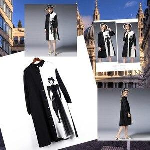 Image 5 - [EWQ] 2020 אביב סתיו חדש Loose ארוך שרוול הדפסת שחור לבן טלאים דש יחיד חזה Loose חולצה שמלה נשים AA250