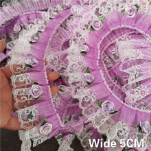 5CM Wide Luxury Purple Tulle Pleated Chiffon Lace Fabric 3D Applique Guipure Ribbon Curtains Prom Dress Wedding Veil DIY Sewing
