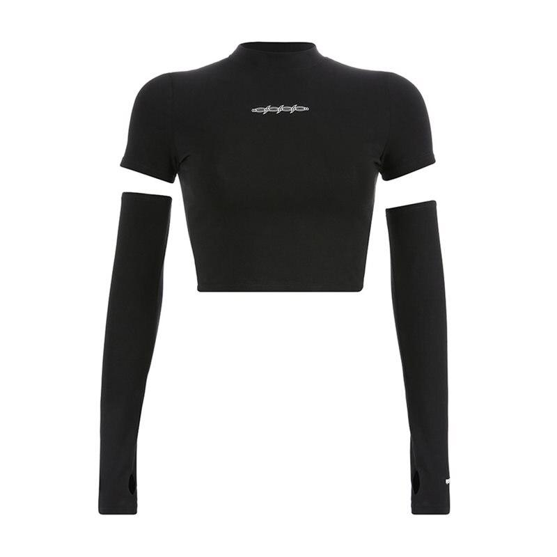 Rosetic Goth Sexy Navel T Shirts Women Summer Sunscreen Long Sleeve Crop Top Print Fashion Gothic Black Girl Casual Tees Shirt