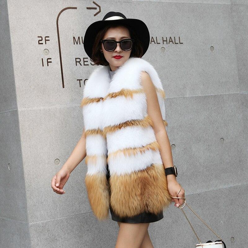 Gilets Thicking Vison Mode Femmes Fourrure Manteaux Manteau Hiver Parka Naturel Femelle Chaud De Réel Pour Renard IppvwWqZ