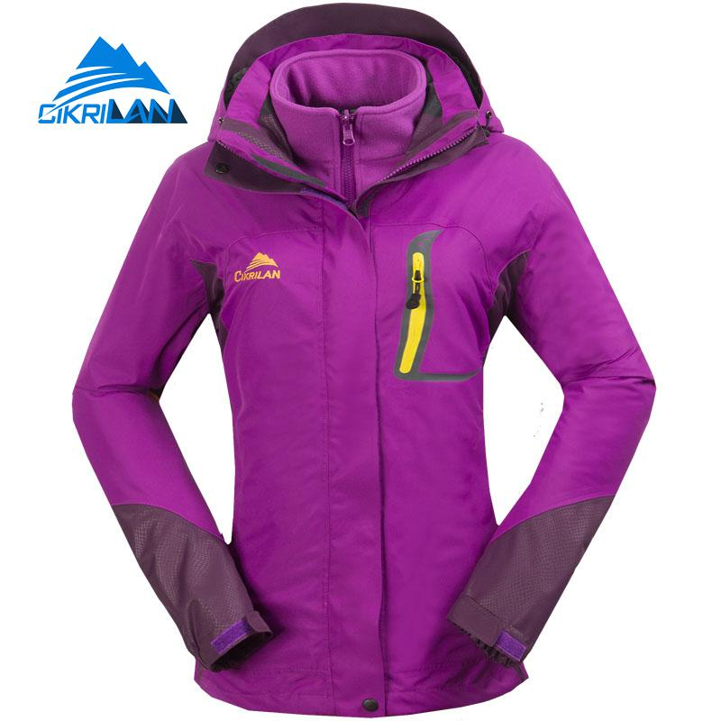 Hot Winter 2in1 Warm Waterproof Outdoor Jacket Women Windstopper Camping Fishing Hiking Coat Climbing Skiing Casaco Feminino