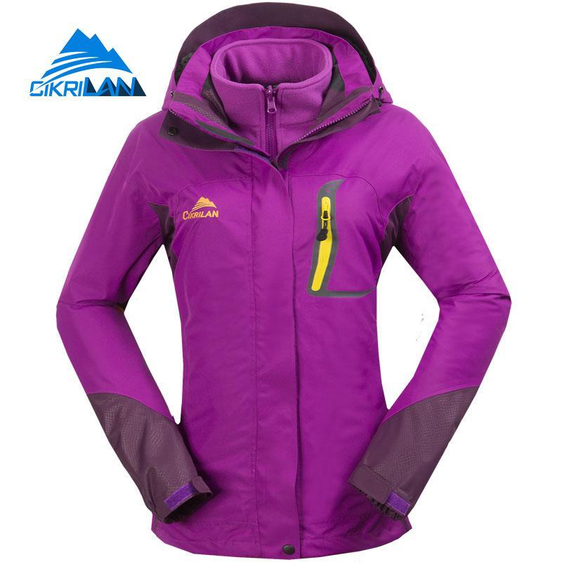 Hot Winter 2in1 Warm Waterproof Outdoor Jacket Women Windstopper Camping Fishing Hiking Coat Climbing Skiing Casaco Feminino
