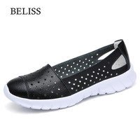 BELISS 2019 Fashion Summer Women Flats Shoes Leather Woman Breathable Casual Shoes Spring Women Flats Loafers Sneakers Shoes P35