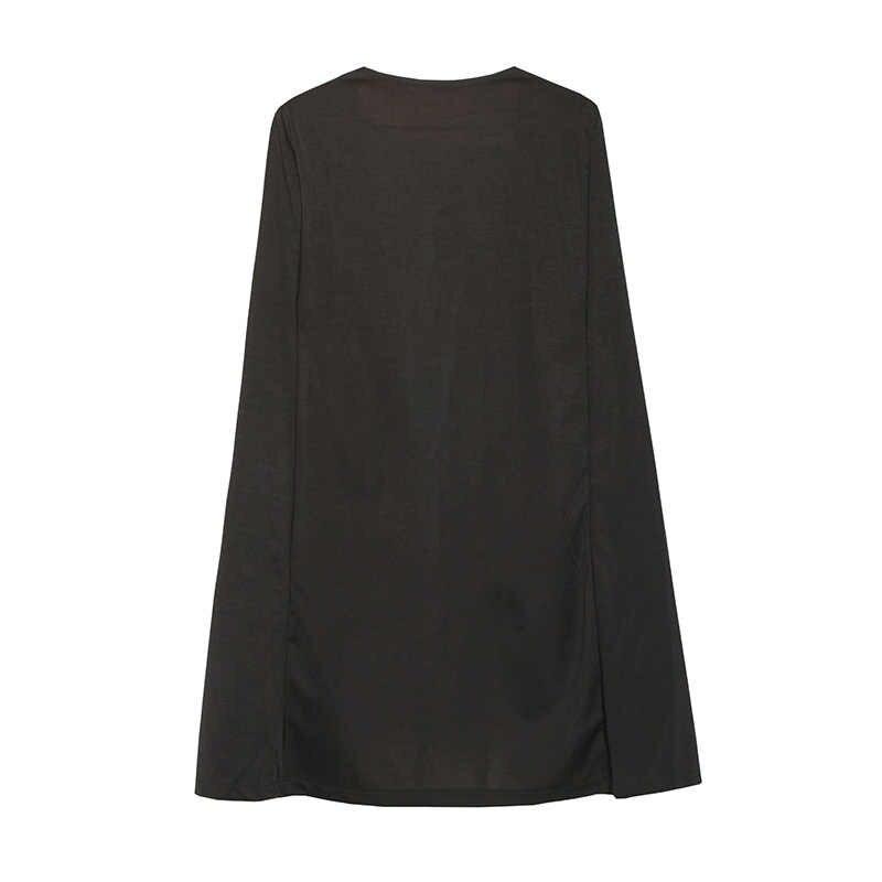 Женский элегантный Блейзер 2019 хит продаж контрастная Привязка открытая передняя накидка блейзер с длинными рукавами белый черный Удлиненная однотонная верхняя одежда 3p7