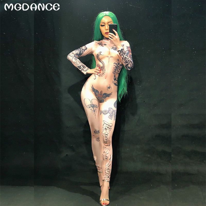 New Women Naked Tattoo 3D Printing Sexy Jumpsuit Nightclub Party Bodysuit Stage Wear Dancer Singer Performance Clothing in Chinese Folk Dance from Novelty Special Use