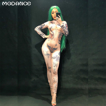 New Women Naked Tattoo 3D Printing Sexy Jumpsuit Nightclub Party Bodysuit Stage Wear Dancer Singer Performance Clothing yellow tiger pattern printed sexy jumpsuit skinny leggings rompers nigthclub singer dancer performance stage show nude costume
