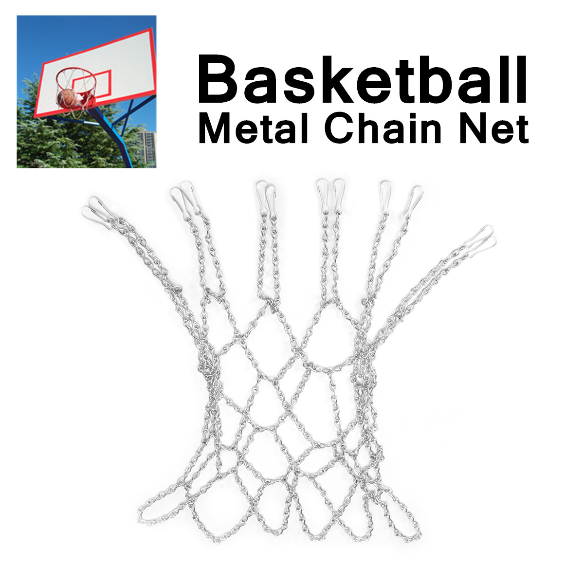 12 Loops Basketball Metal Chain Net Zinc Steel Silver Rust-Proof Design Standard Fit For Hoops Easy Attachment Heavy-