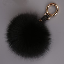 Luxury 13cm Real Fox Fur Pom pom Keychain Fur Ball Keyring  Women Bag Pendant Handbag Charm Fluffy Pendant Key chains Key holder недорого