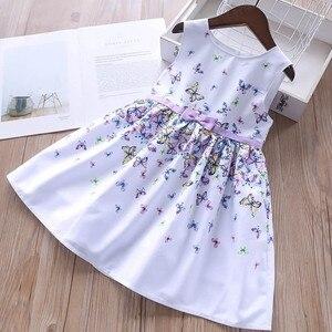 Image 5 - Детское летнее Хлопковое платье для девочек, с цветочным принтом