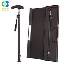 Трость для пожилых людей с высококачественной коробкой, сверхлегкая телескопическая трость из углеродного волокна для пожилых людей, деревянные костыли с Т-образной ручкой для пожилых людей