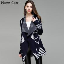 11711d54df Autumn Winter Women Knitted Cardigan Coat Sweaters Navy Blue Geometric  Turn-down Collar Long Sleeve