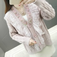 Spring Autumn Knitted Sweater V neck Cardigans For Women Long Sleeve Female Cardigan Lace Patchwork Sweaters Sueter Mujer