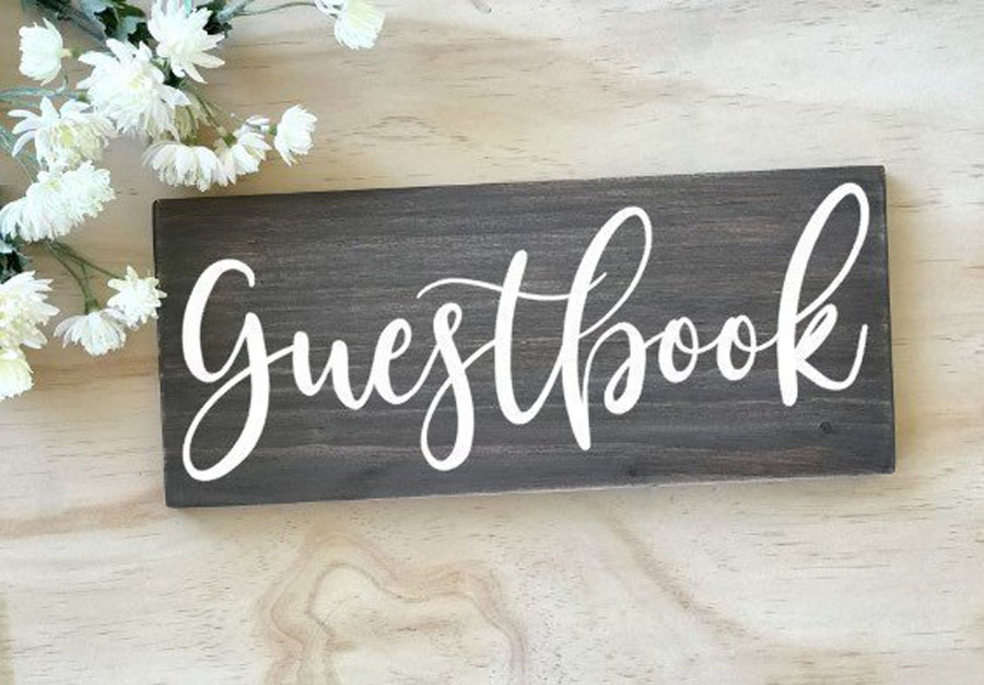 Guestbook Sign Decal Wooden Wedding Decor Sticker Rustic Wedding Signs Removable Self Adhesive Art Wall Decals