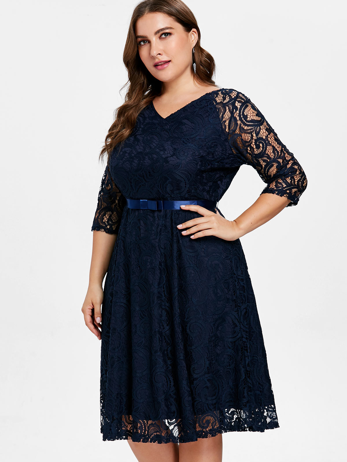 861d31e2382 ... Wipalo Women Tied Belted Plus Size Lace Knee Length Dress Solid V Neck Three  Quarter Sleeve A Line Party Dress 4XL Vestidos