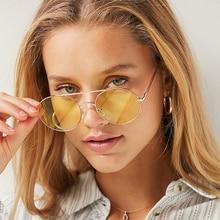 8c1f9401dc284 Retro hippie Lennon rodada óculos de sol das mulheres de Metal armação de Metal  círculo lentes coloridas óculos de sol Super .