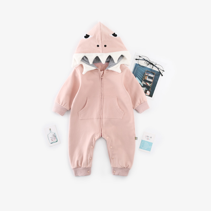 Cartoon shark baby jumpsuit long sleeve hooded baby romper baby robes full open zipper romper Autumn Baby clothing