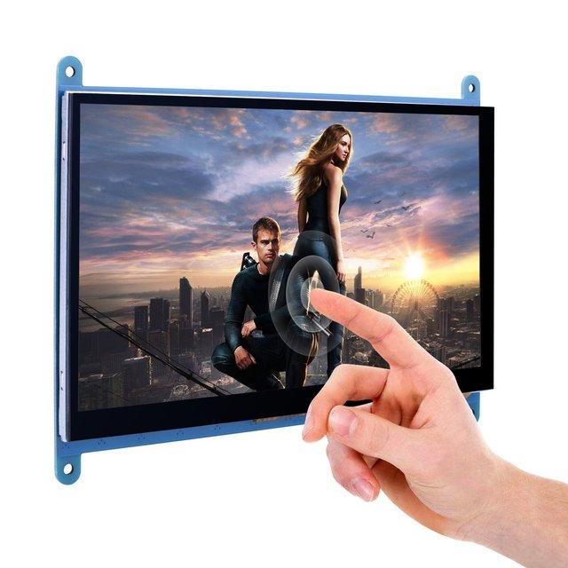 7 بوصة بالسعة شاشة تعمل باللمس TFT شاشة الكريستال السائل HDMI وحدة 800x480 ل التوت Pi 3 2 نموذج B و RPi 1 B + A BB الأسود PC Var