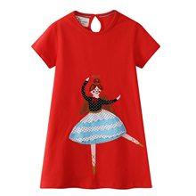 2019 New Summer girl dresses Red Ballet girl Applique A-Line baby dress 2-7T princess dress Infant clothing Vestido Infantil