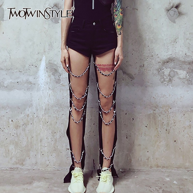 TWOTWINSTYLE Hollow Out Chains Patchwork Denim Pants Women High Waist Big Size Sexy Jeans Female Korean 2019 Spring New Tide