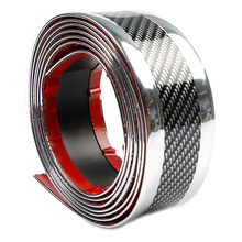 Universal 2.5M x 5CM (Sliver + Carbon Fiber) Car Stickers for door sill scuff  Pedal protect bumper Corners Modification