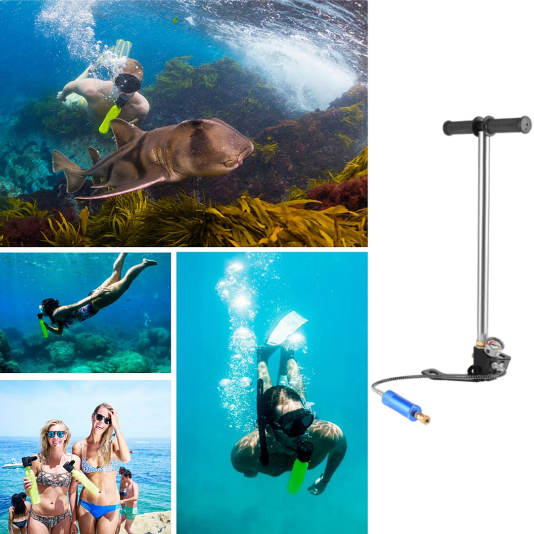 Scuba Diving Oxygen Cylinder Air Tank Portable Hand Operated Pump Inflator For Underwater Diving Equipement AccessoriesScuba Diving Oxygen Cylinder Air Tank Portable Hand Operated Pump Inflator For Underwater Diving Equipement Accessories