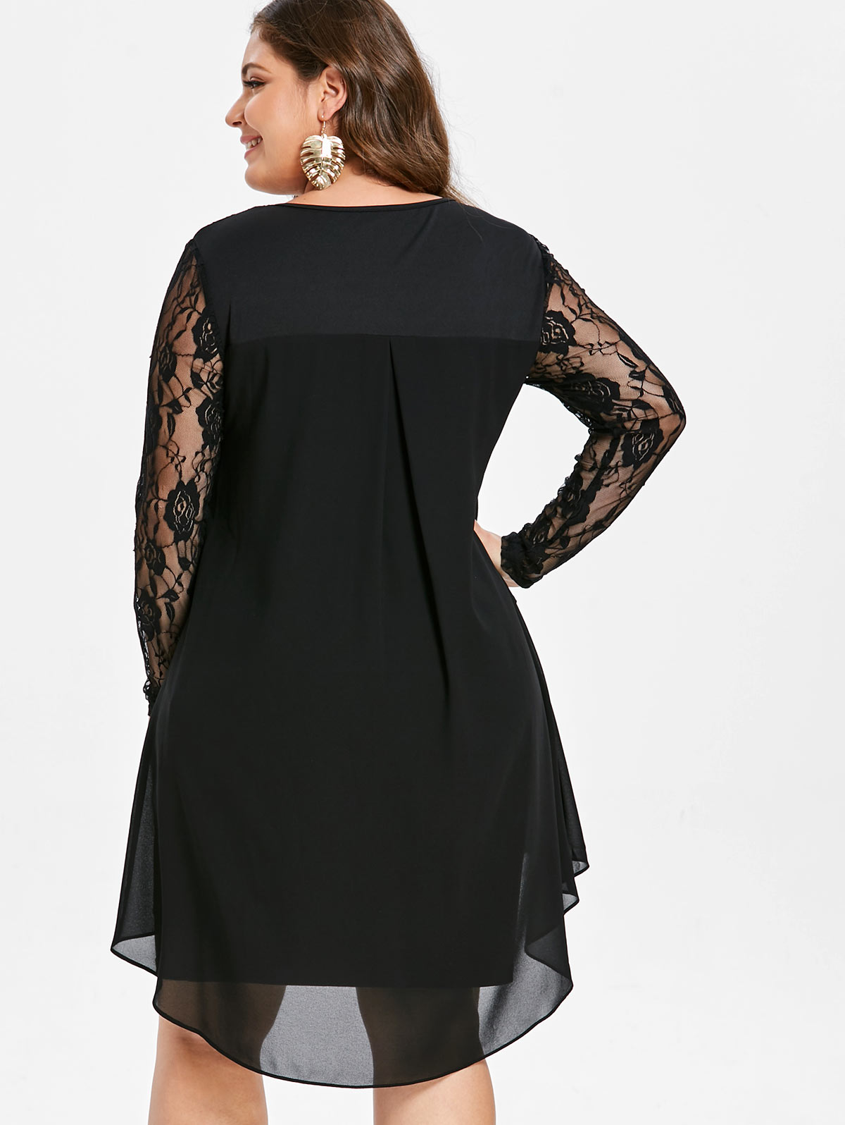 9d3301179c US $14.42 46% OFF|Wipalo Women Plus Size Sheer Lace Sleeve High Low Hem  Dress Casual Solid Asymmetric Splicing Dress Spring Autumn Party  Vestidos-in ...