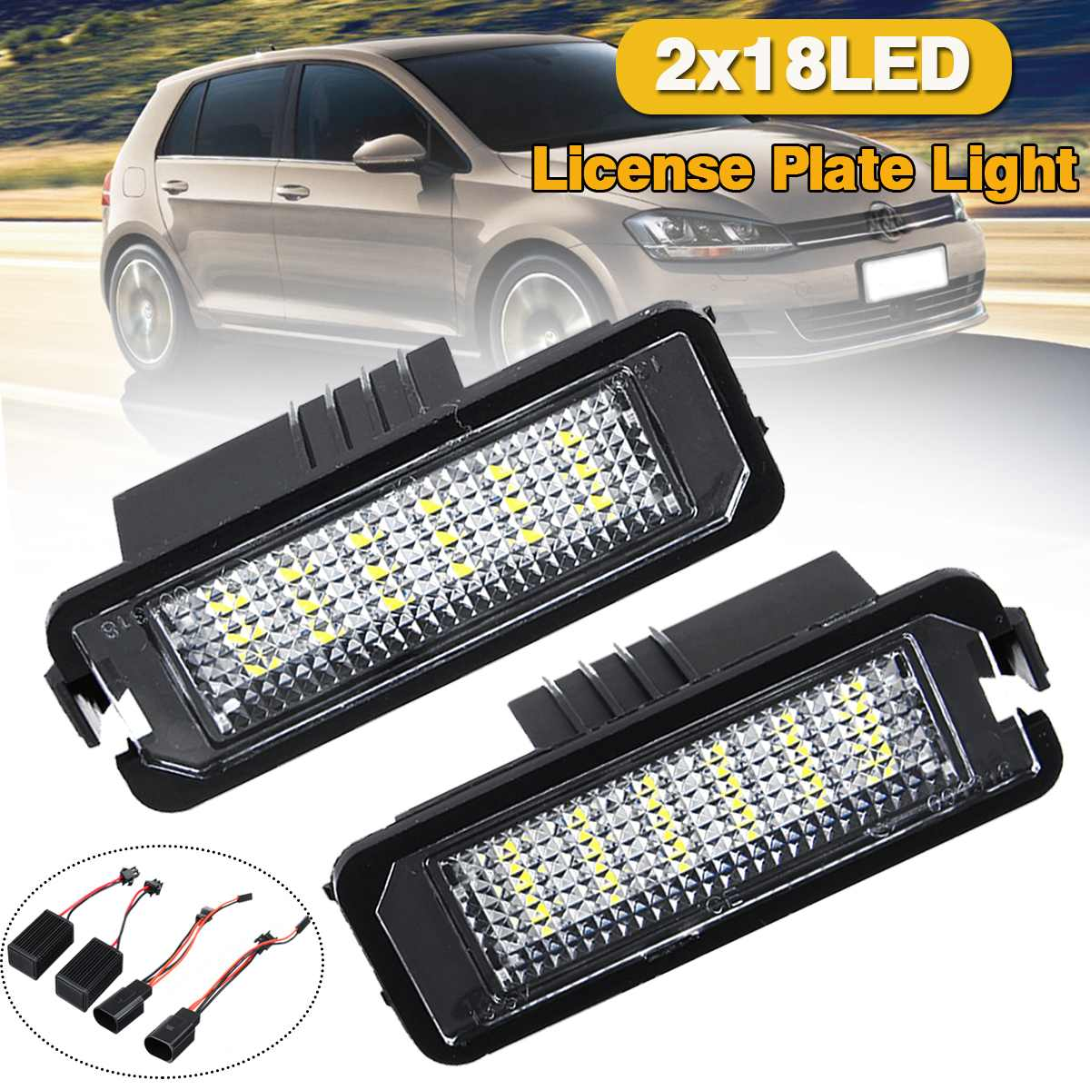2x LED License Plate Lights Xenon White Lamps For VW Eos CC Scirocco 2009-2014